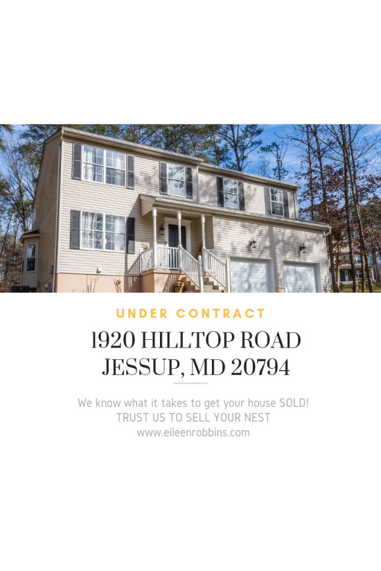Under Contract – 1920 Hilltop Road, Jessup, MD 20794