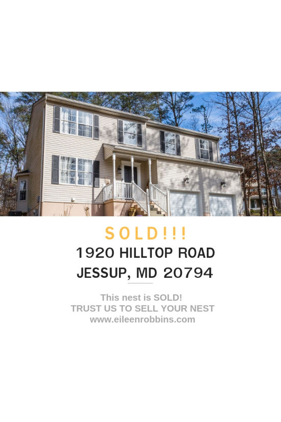 SOLD! 1920 HIlltop Road, Jessup, MD 20794