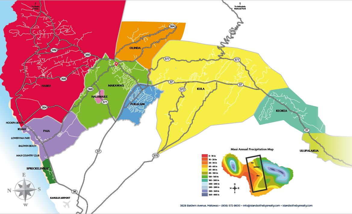 Map of Upcountry Maui, Makawao, Pukalani, Haliimaile, Haiku, Paia, Kula, Upcountry Maui