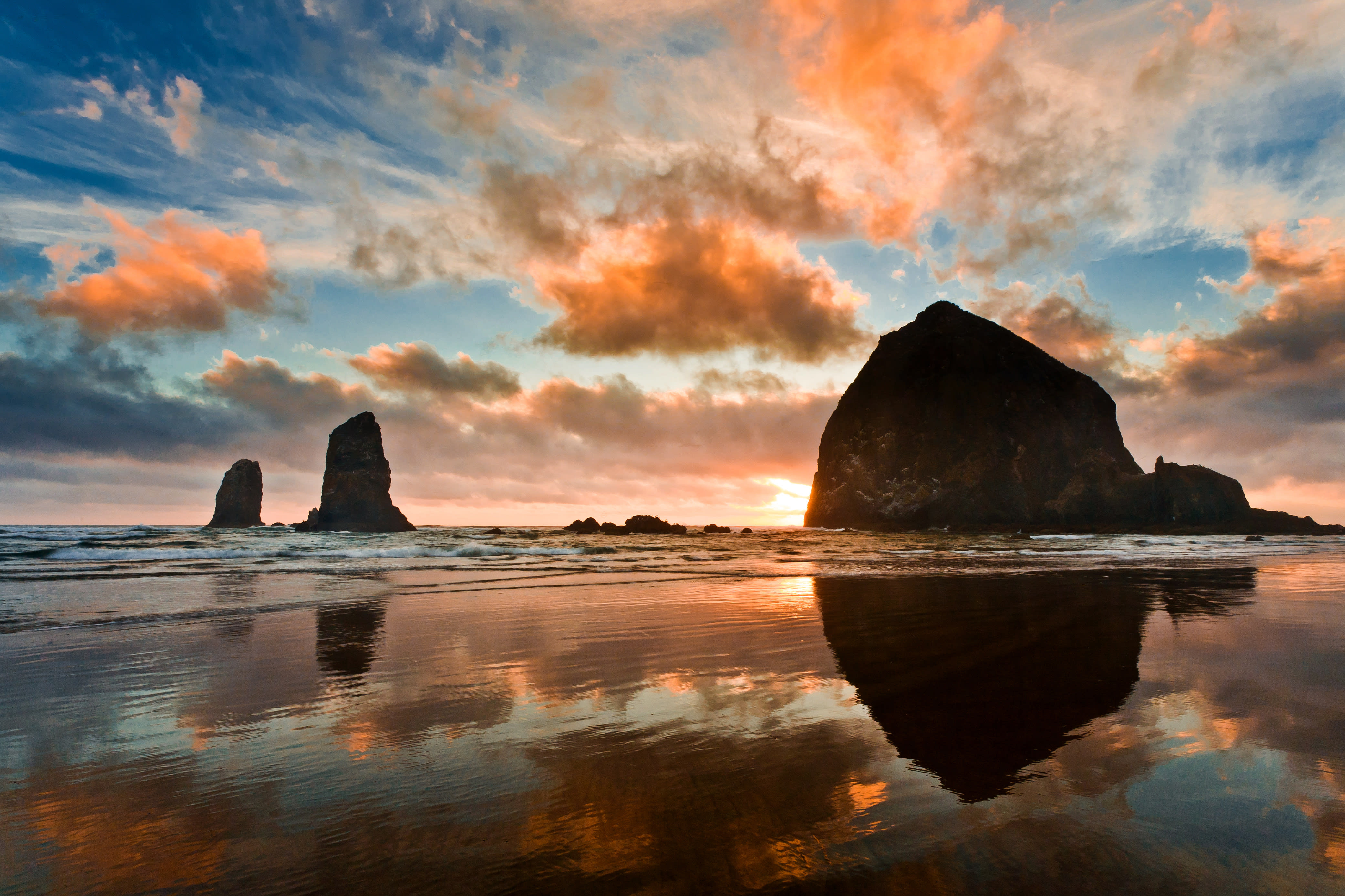 Haystack Rock at Sunset in Cannon Beach Oregon